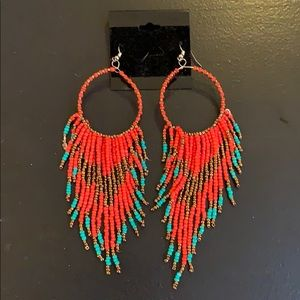 Red Beaded Fringe Hoop Earrings NWOT